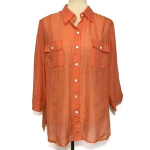 Additions by Chico's Button Up Semi-Sheer Top